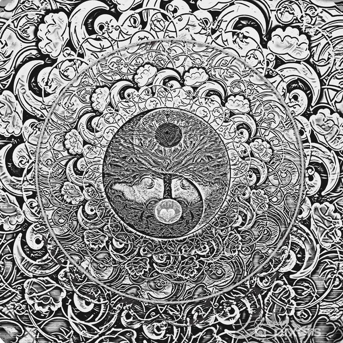 Plakat w ramie Drzewo życia Srebrnego Mandala - iStaging