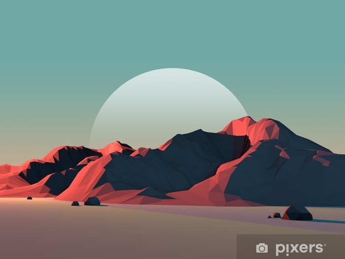 Low-Poly Mountain Landscape at Dusk with Moon Pixerstick Sticker - Wonders of Nature