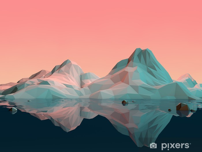 Fototapeta winylowa Low-Poly 3D krajobraz górski z wodą i refleksji - Sport