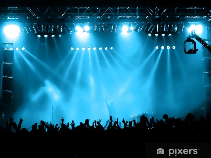 Vinyl Fotobehang Juichende menigte op het concert, musici op het podium - Amusement