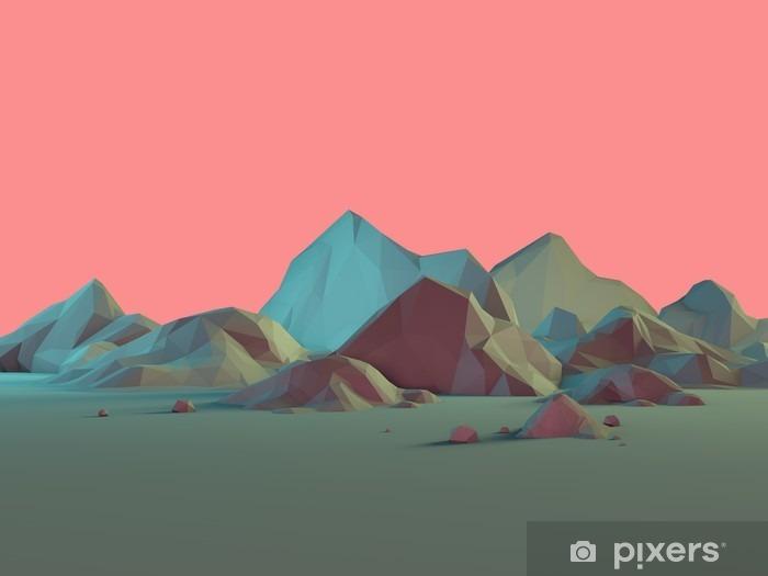 Matala poly 3d vuoristomaisema pastellit Pixerstick tarra - Maisemat