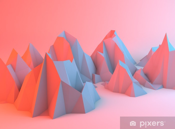 Pixerstick Sticker Kleurrijke Abstracte Bergen - Andere Gevoelens
