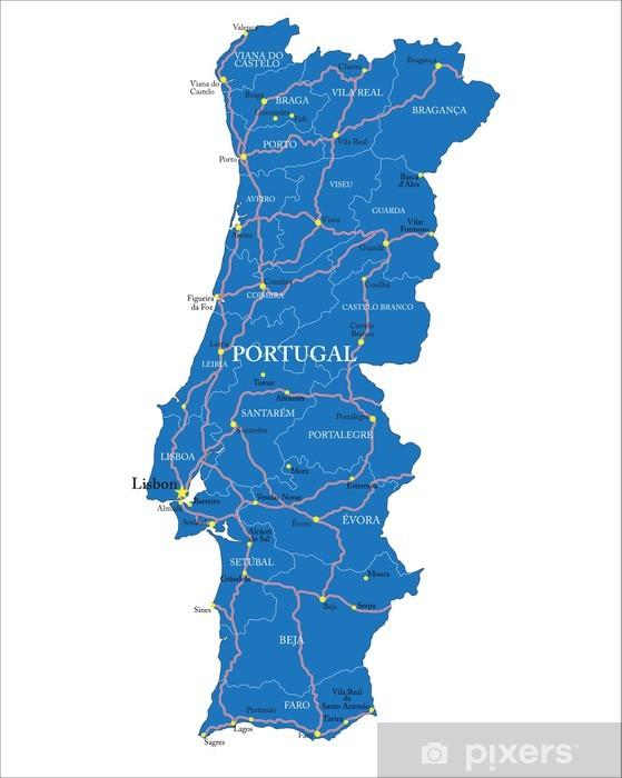 Vinyl Fotobehang Portugal kaart - Europese steden