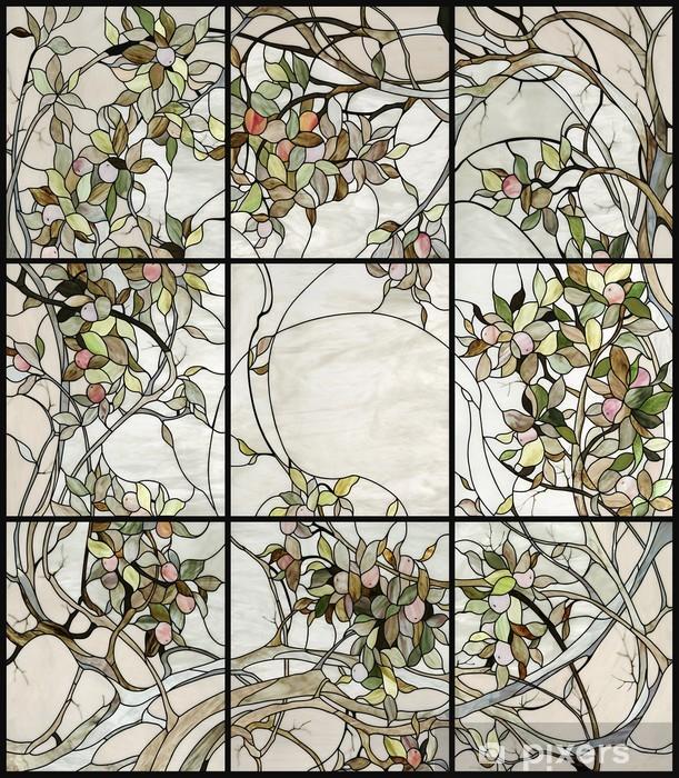 Naklejka Pixerstick Kwiatowy witraż - Europa