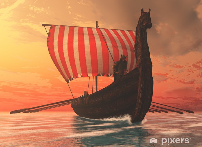 Viking Man and Longship Vinyl Wall Mural - Other