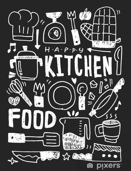 Fototapeta winylowa Kuchnia elementy ręcznie rysowane Doodles linia ikona, eps10 - Zasoby graficzne
