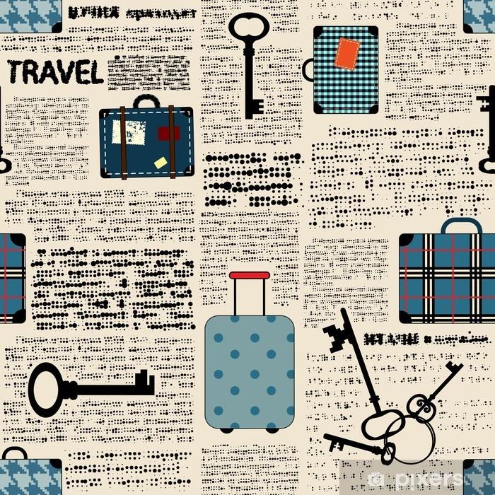 Pixerstick Sticker Imitatie van de krant met koffers en woord reizen. - Grafische Bronnen