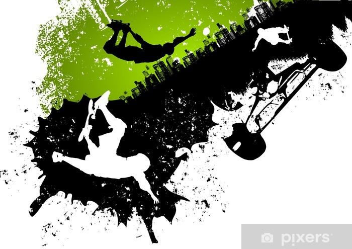 Skateboard abstract background Pixerstick Sticker - Skateboarding