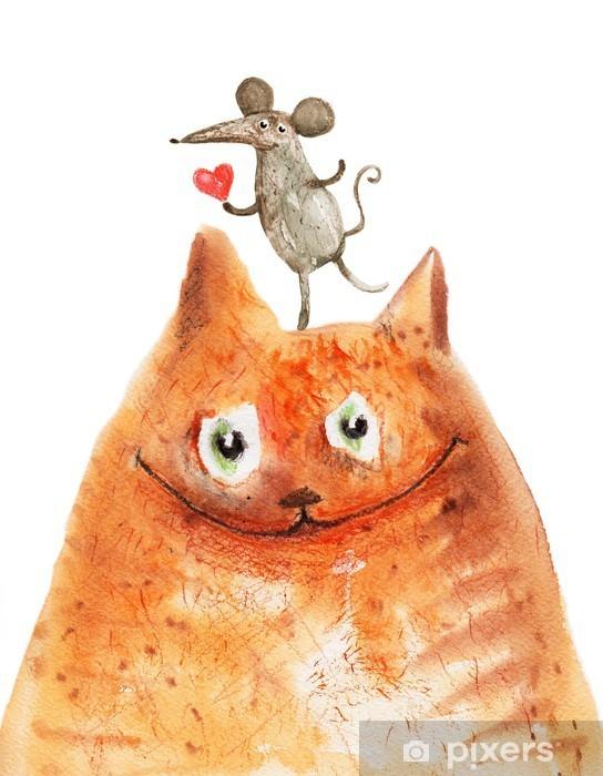 Pixerstick Sticker Kat met mause - Emoties en gevoelen