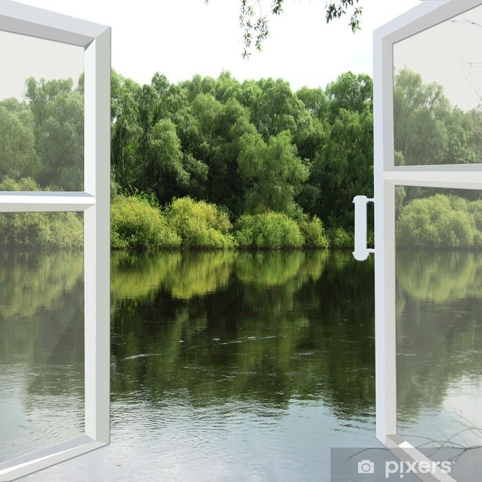 Papier peint vinyle Fenêtre ouverte à la rivière de printemps - iStaging