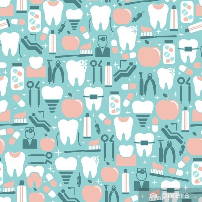 Fototapeta winylowa Opieka stomatologiczna grafiki na niebieskim tle - Styl życia