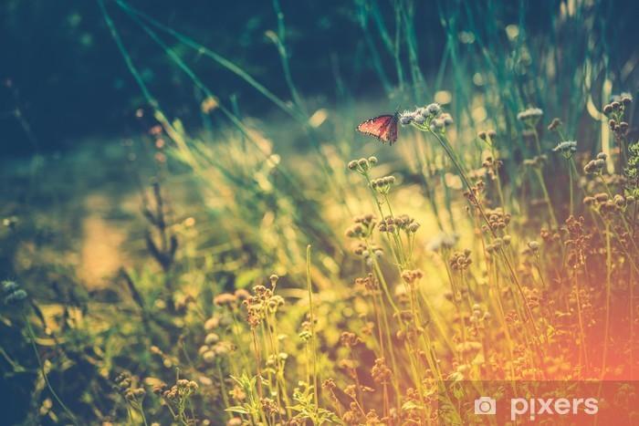 Pixerstick Sticker Wilde Weide met vlinder - Landschap