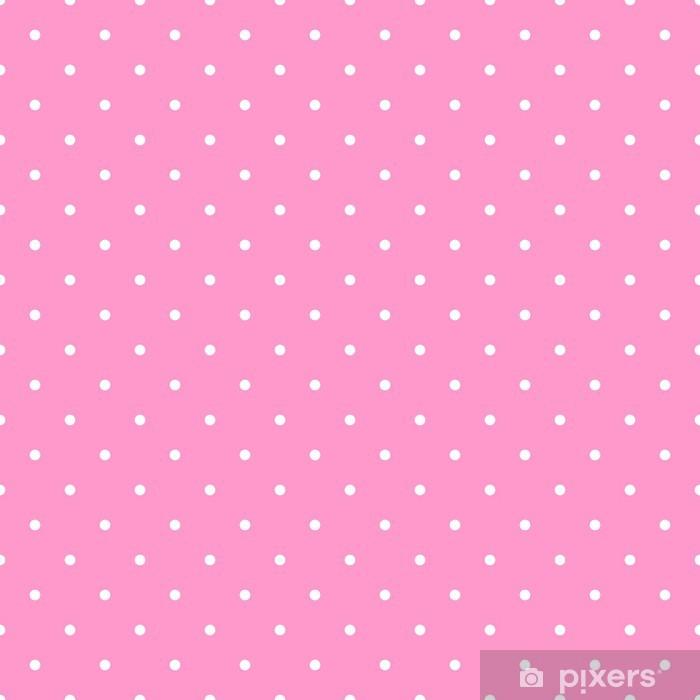 Adesivo Schema Di Posa Vettoriale Con Pois Bianchi Su Sfondo Rosa