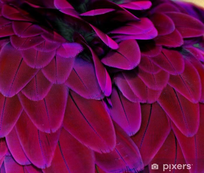Sticker Pixerstick Rose et Plumes pourpres - Oiseaux