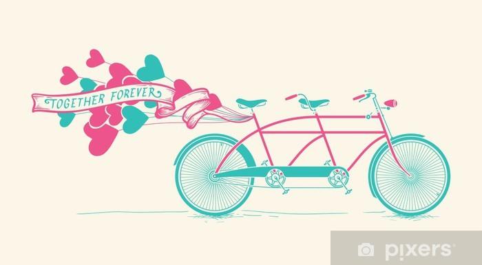 Papier peint vinyle Vélo tandem vintage avec des ballons de coeurs - Ensemble pour toujours - Bonheur