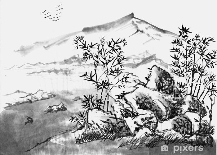 Afwasbaar Fotobehang Chinees schilderij landschap - Hobby's en Vrije tijd