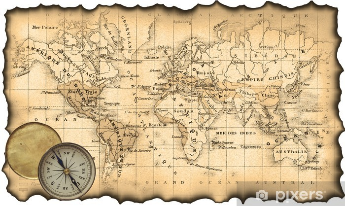 Ancient Map Of The World Compass Wall Mural Pixers We Live To