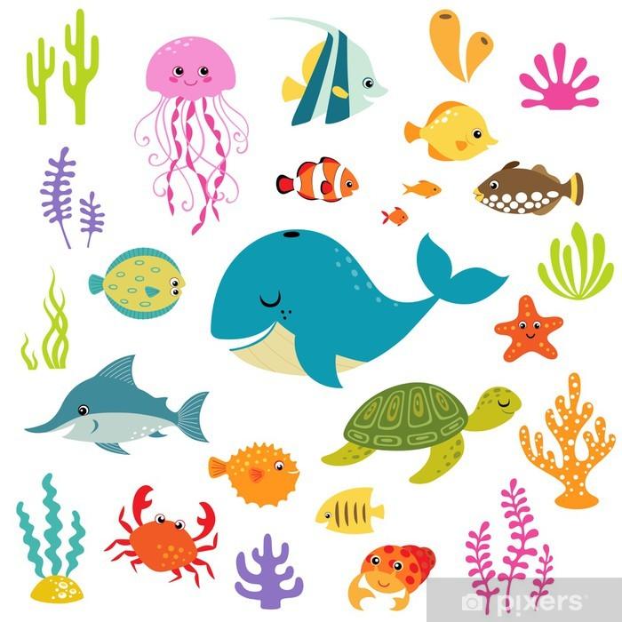 Sticker Pixerstick Monde sous-marin mignon - Animaux marins