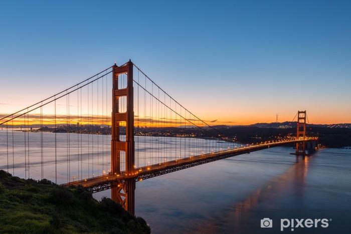 Golden Gate Bridge at Dawn Vinyl Wall Mural - Infrastructure