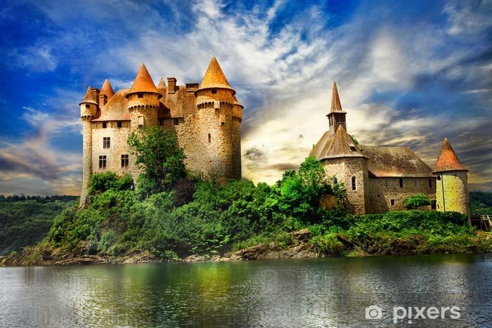 fairy castle on lake over sunset - chateau de Val, France Pixerstick Sticker - Europe