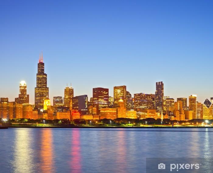 Papier peint vinyle Chicago Illinois, panorama des toits de la ville - Amérique