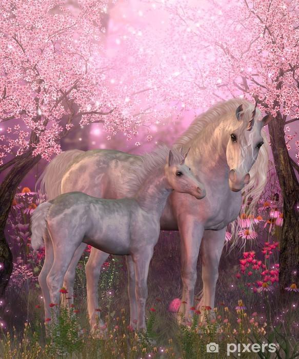 Pixerstick Dekor Vit Unicorn Mare och föl - iStaging