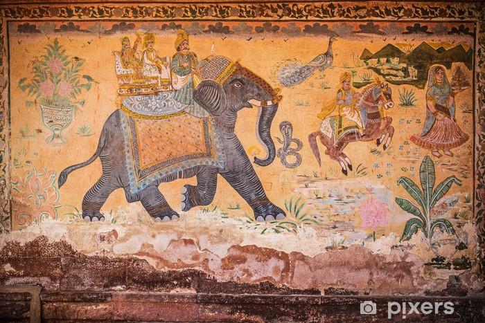 Carta Da Parati Pittura Murale Indiana Con Elefante E La Gente Pixers Viviamo Per Il Cambiamento