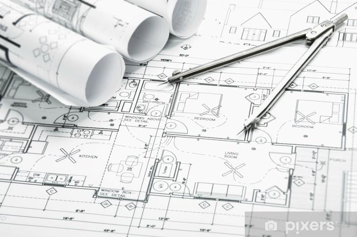 Fototapeta samoprzylepna Rysunki dotyczące planowania budowy - Przemysł