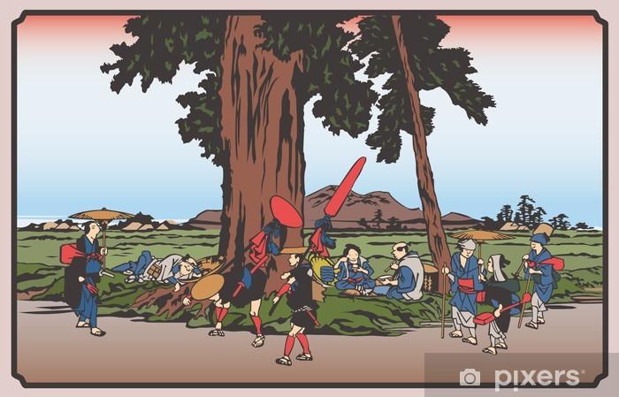Papier peint vinyle 歌 川 広 重 木 曽 街道 六 十九次 · 伏 見 の イ ラ ス ト - Campagne