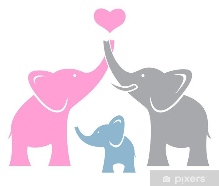 papier peint famille elephant. symbole ou logo • pixers® - nous