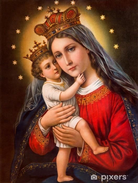 Pixerstick-klistremerke Typisk katolsk bilde av Madonna med barnet - Kunst- og Håndverk