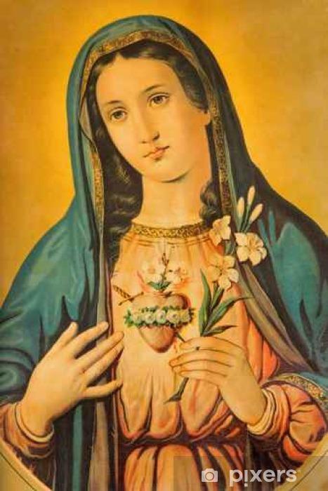 Naklejka Pixerstick Serce Maryi Panny z lilia - Zasoby graficzne