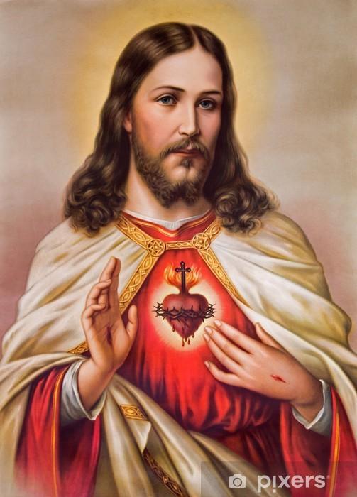 Pixerstick-klistremerke Typisk katolsk bilde av hjertet av Jesus Kristus - Tegn og Symboler