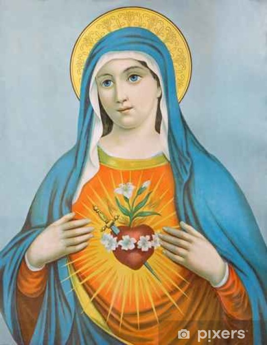 The Heart of Virgin Mary. Typical catholic image Vinyl Wall Mural - Graphic Resources