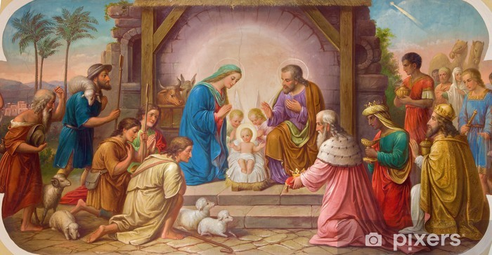 Vienna - Fresco of Nativity scene in Erloserkirche church. Pixerstick Sticker - European Cities