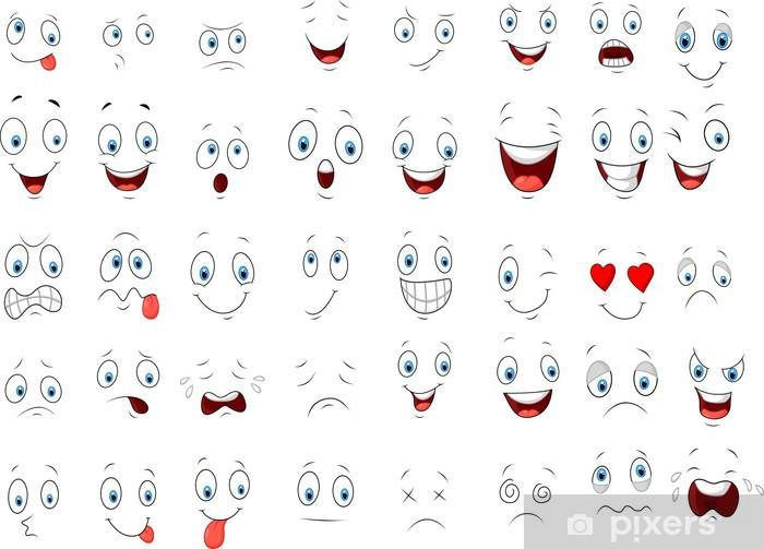 Vinilo De Dibujos Animados De Diferentes Expresiones De La Cara Pixerstick