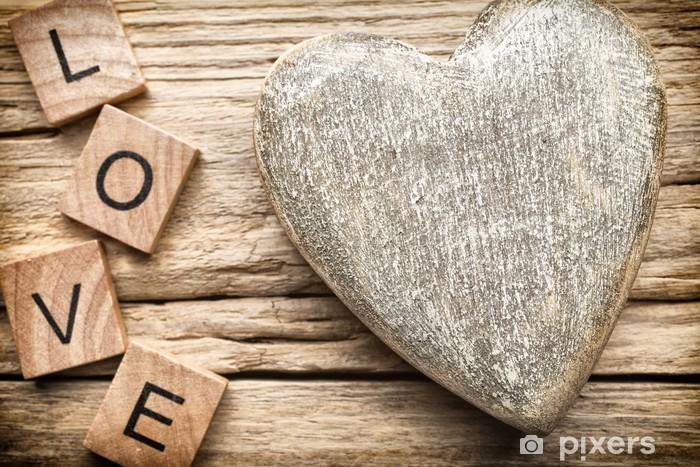 Nálepka Pixerstick Dřevěné srdce - Mezinárodní svátky