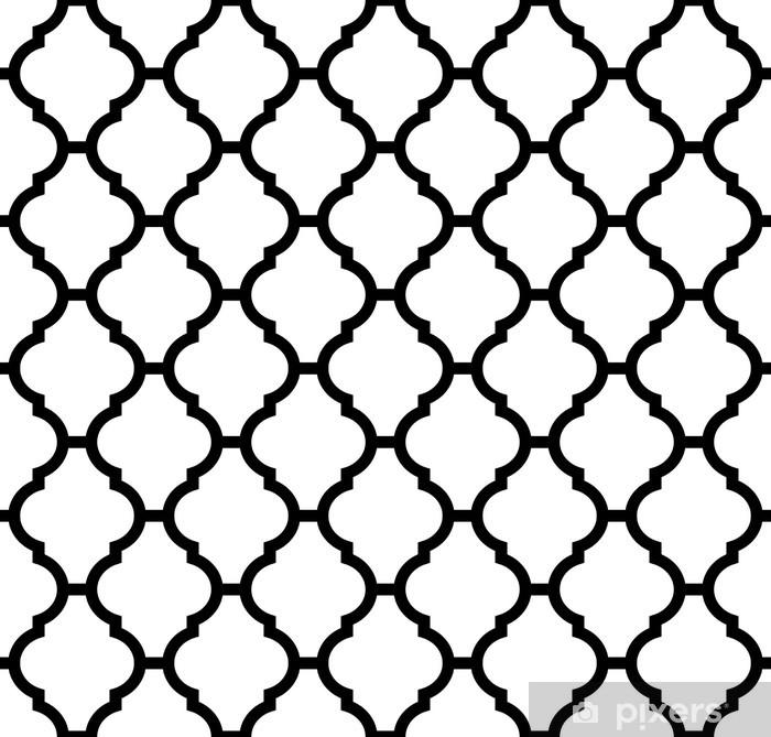 Vinilo para Nevera Patrón transparente marroquí en blanco y negro - Fondos