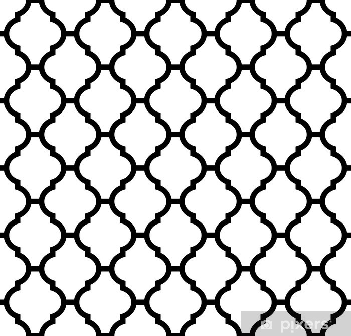 moroccan seamless pattern in black and white Vinyl Wall Mural - Backgrounds