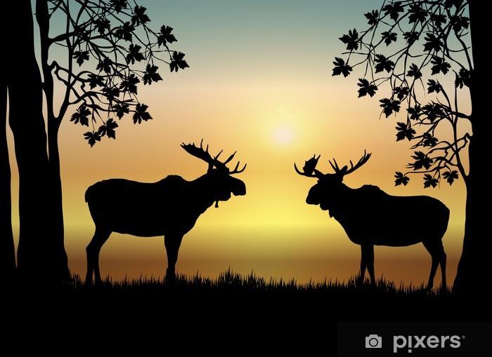 Sticker Pixerstick Moose au lever du soleil - Mammifères