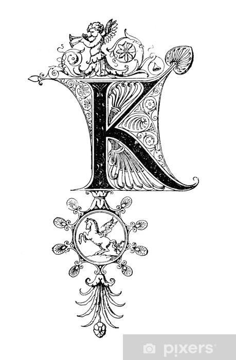 Vinyl-Fototapete Romanesque Neoclassical design depicting the letter K - Zeichen und Symbole