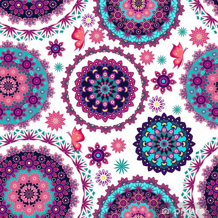 Papier peint vinyle Mandala modèle et papillons floral - Arrière plans