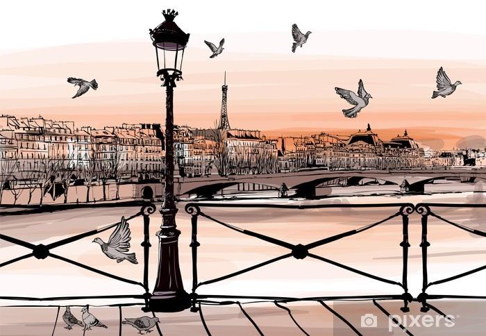 Fototapeta winylowa Zachód słońca na rzece Seine z Pont des Arts w Paryżu - Miasta europejskie