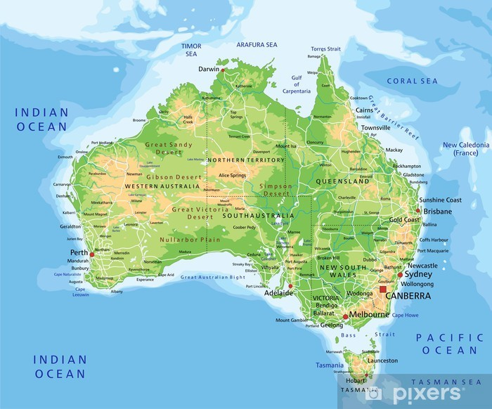 Korkea Yksityiskohtainen Australian Fyysinen Kartta Merkinnalla