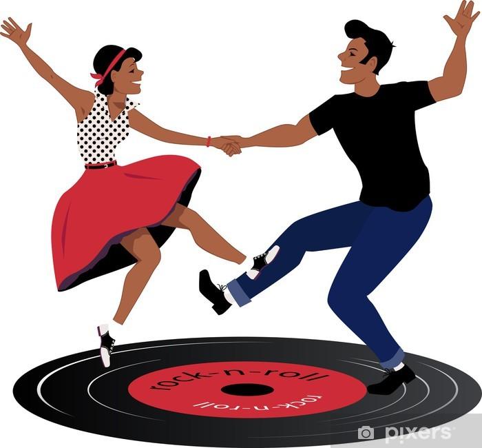 Fototapeta winylowa Rockabilly para tańczy na płycie winylowej - Rozrywka