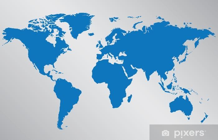 Naklejka Pixerstick Mapa świata ilustracji na szarym tle - Tła
