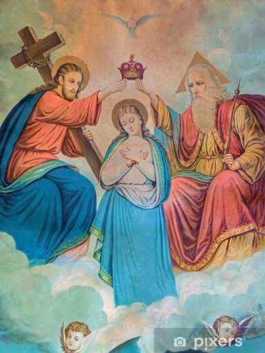 Papier peint vinyle Image typique catholique de Couronnement de la Vierge Marie - Passe-temps et loisirs