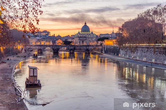 Vatican City and Tevere River in Rome at Dusk Pixerstick Sticker - Themes