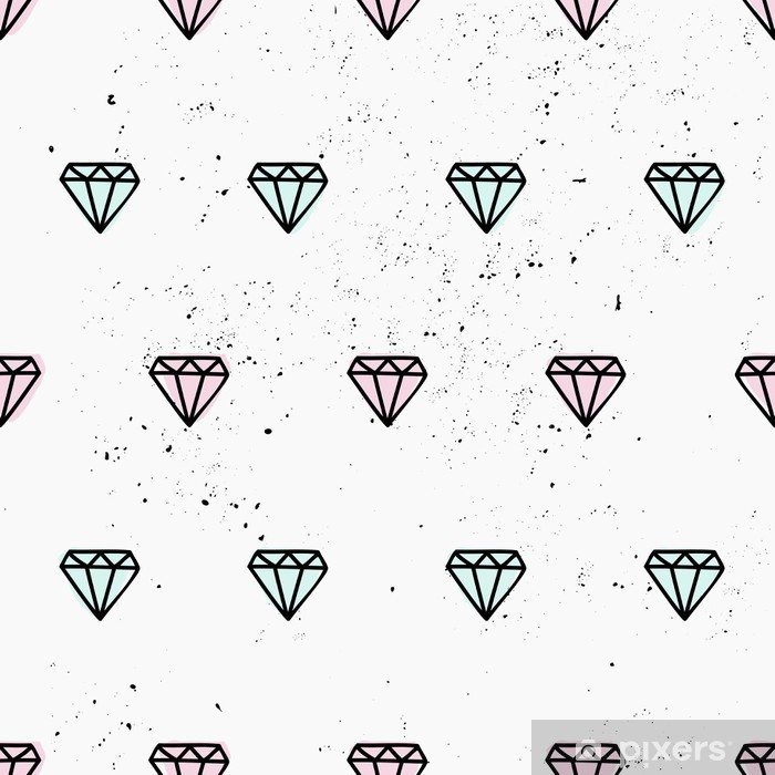 Pixerstick Aufkleber Hand gezeichnet Diamanten nahtlose Muster - Abstrakt