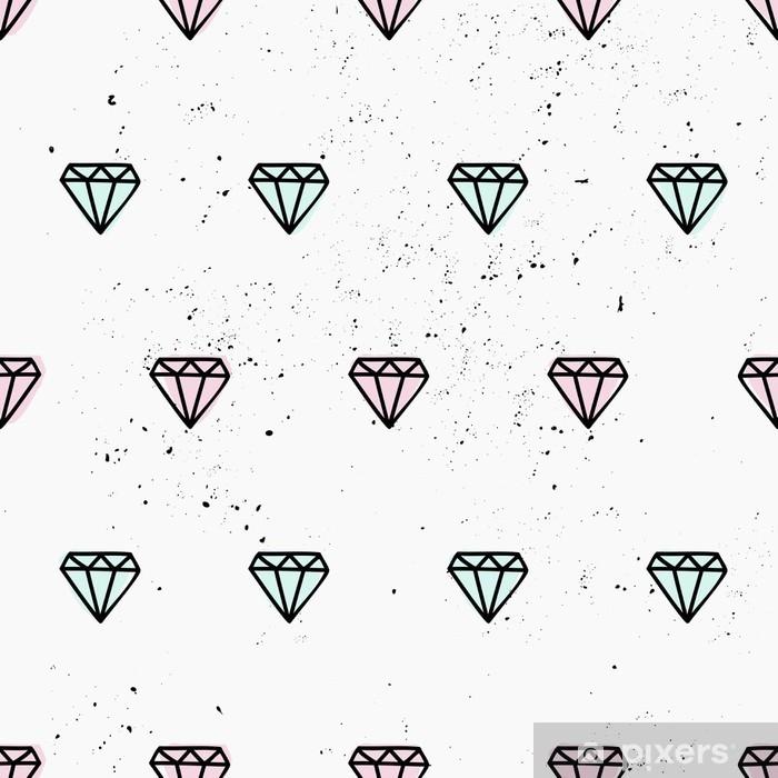 Naklejka Pixerstick Ręcznie rysowane diamenty bez szwu - Abstrakcja